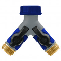 MAX Brass/Plastic 2 Outlet Tap Adaptor c/w Valves